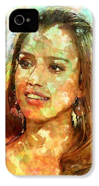 Jessica Alba IPhone 4 Case by Elena Kosvincheva