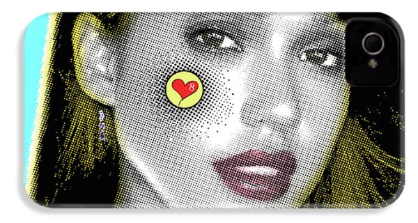 Jessica Alba Pop Art, Portrait, Contemporary Art On Canvas, Famous Celebrities IPhone 4 Case by Dr Eight Love