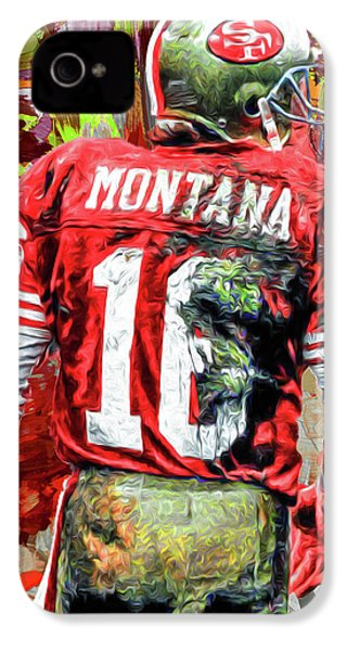 Joe Montana Football Digital Fantasy Painting San Francisco 49ers IPhone 4 / 4s Case by David Haskett