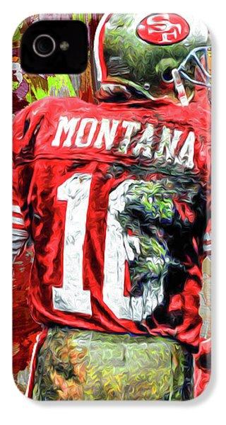 Joe Montana Football Digital Fantasy Painting San Francisco 49ers IPhone 4 Case by David Haskett