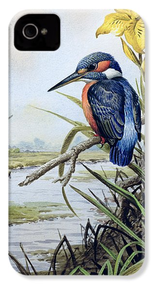 Kingfisher With Flag Iris And Windmill IPhone 4 / 4s Case by Carl Donner