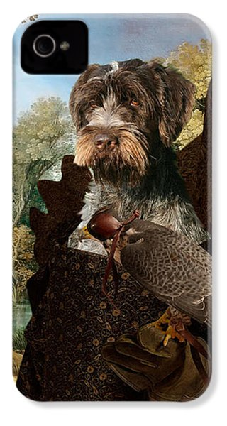 Korthals Pointing Griffon Art Canvas Print - The Hunters And Lady Falconer IPhone 4 Case
