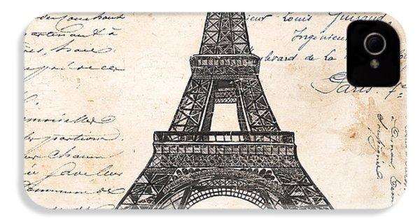 La Tour Eiffel IPhone 4 Case by Debbie DeWitt