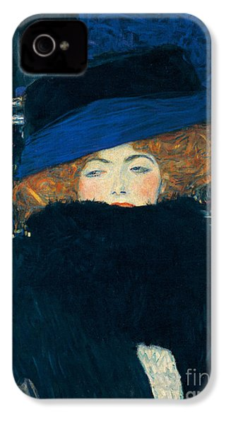 Lady With A Hat And A Feather Boa IPhone 4 / 4s Case by Gustav Klimt