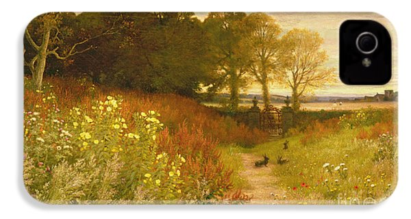 Landscape With Wild Flowers And Rabbits IPhone 4 Case by Robert Collinson