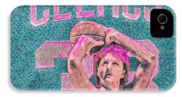 Larry Bird Boston Celtics Digital Painting Pink IPhone 4 Case by David Haskett