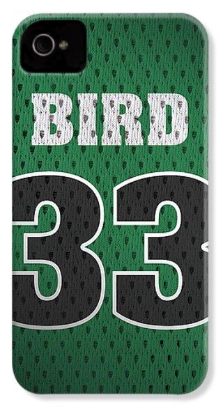 Larry Bird Boston Celtics Retro Vintage Jersey Closeup Graphic Design IPhone 4 Case by Design Turnpike