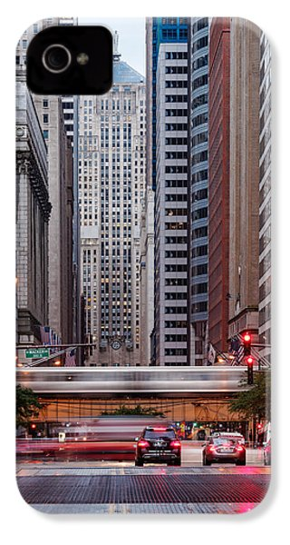 Lasalle Street Canyon With Chicago Board Of Trade Building At The South Side II - Chicago Illinois IPhone 4 Case by Silvio Ligutti