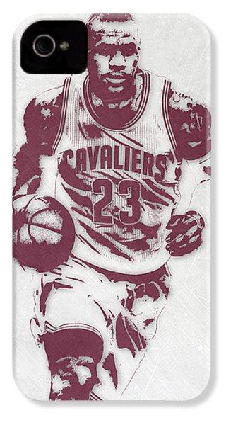 Lebron James Cleveland Cavaliers Pixel Art 4 IPhone 4 / 4s Case by Joe Hamilton