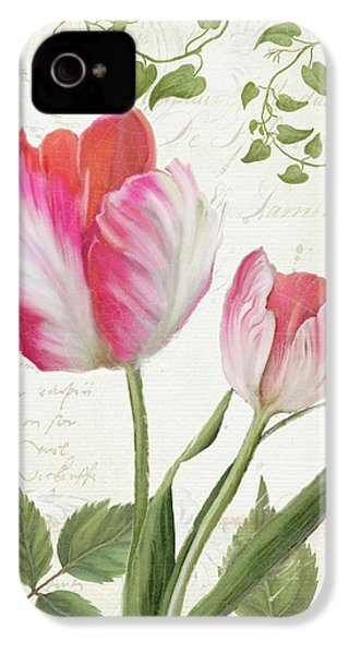 Les Magnifiques Fleurs IIi - Magnificent Garden Flowers Parrot Tulips N Indigo Bunting Songbird IPhone 4 Case by Audrey Jeanne Roberts