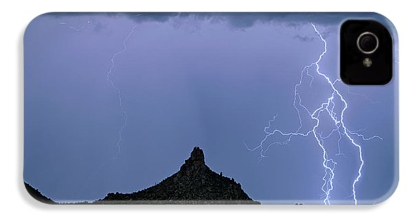 IPhone 4 Case featuring the photograph Lightning Bolts And Pinnacle Peak North Scottsdale Arizona by James BO Insogna