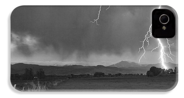 Lightning Striking Longs Peak Foothills 5bw IPhone 4 Case by James BO  Insogna