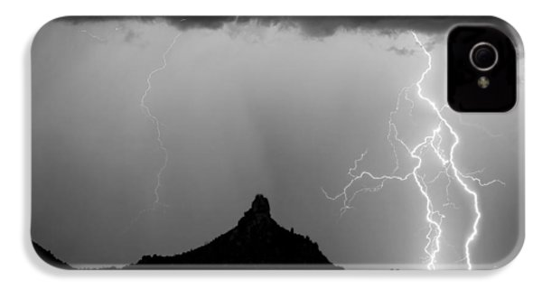 Lightning Thunderstorm At Pinnacle Peak Bw IPhone 4 / 4s Case by James BO  Insogna