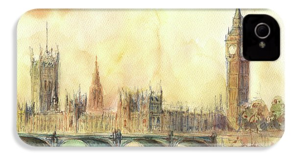 London Big Ben And Thames River IPhone 4 Case by Juan Bosco