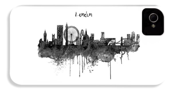 London Black And White Skyline Watercolor IPhone 4 Case by Marian Voicu