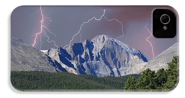 Longs Peak Lightning Storm Fine Art Photography Print IPhone 4 Case by James BO  Insogna
