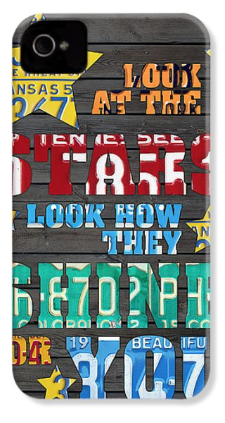 Look At The Stars Coldplay Yellow Inspired Typography Made Using Vintage Recycled License Plates IPhone 4 Case by Design Turnpike