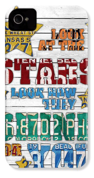 Look At The Stars Coldplay Yellow Inspired Typography Made Using Vintage Recycled License Plates V2 IPhone 4 Case by Design Turnpike