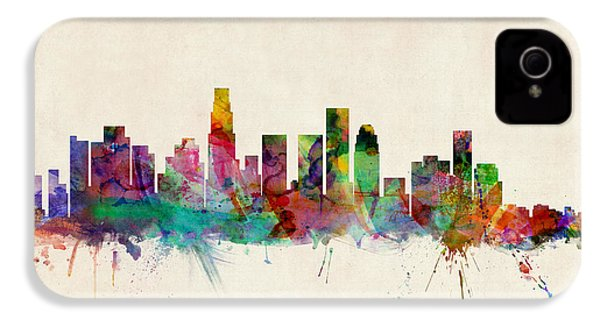 Los Angeles California Skyline Signed IPhone 4 / 4s Case by Michael Tompsett