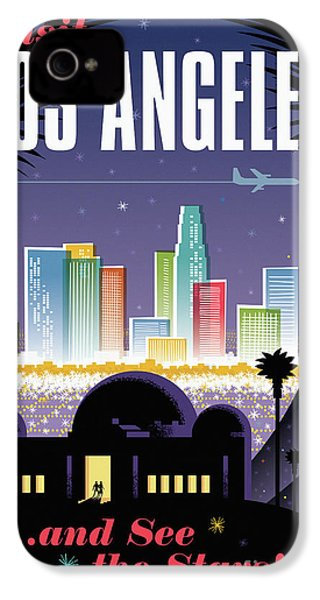 Los Angeles Retro Travel Poster IPhone 4 Case by Jim Zahniser