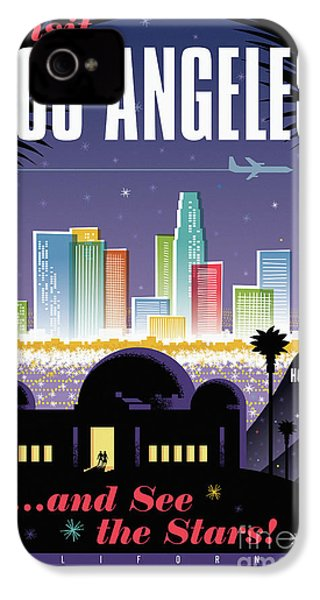 Los Angeles Retro Travel Poster IPhone 4 / 4s Case by Jim Zahniser