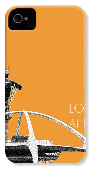 Los Angeles Skyline Lax Spider - Orange IPhone 4 Case by DB Artist