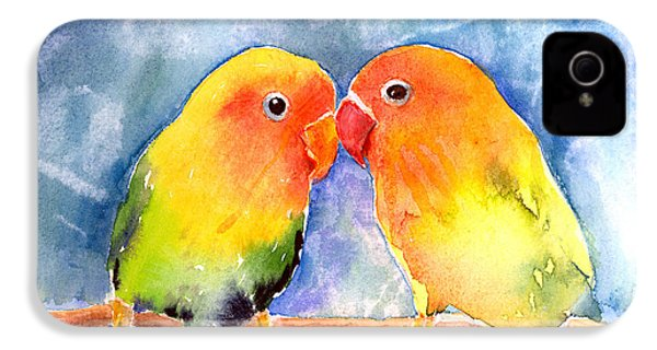 Lovey Dovey Lovebirds IPhone 4 Case by Arline Wagner