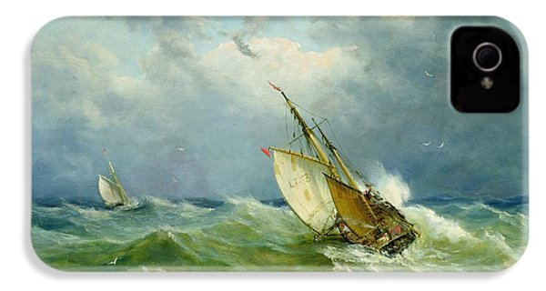 Lowestoft Trawler In Rough Weather IPhone 4 Case by John Moore