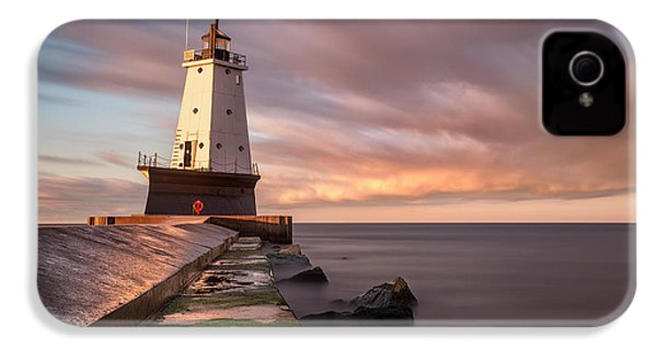 IPhone 4 Case featuring the photograph Ludington Light Sunrise Long Exposure by Adam Romanowicz