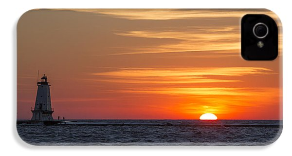 IPhone 4 Case featuring the photograph Ludington North Breakwater Light At Sunset by Adam Romanowicz