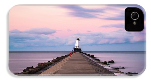 IPhone 4 Case featuring the photograph Ludington North Breakwater Light Sunrise by Adam Romanowicz