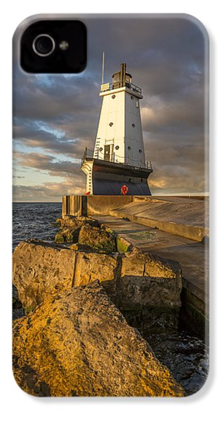 IPhone 4 Case featuring the photograph Ludington North Breakwater Lighthouse At Sunrise by Adam Romanowicz