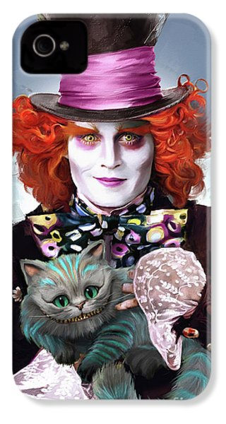 Mad Hatter And Cheshire Cat IPhone 4 Case by Melanie D