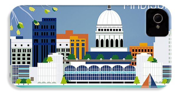 Madison Wisconsin Horizontal Skyline IPhone 4 Case by Karen Young