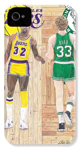 Magic Johnson And Larry Bird IPhone 4 Case by Chris Brown