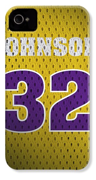 Magic Johnson Los Angeles Lakers Number 32 Retro Vintage Jersey Closeup Graphic Design IPhone 4 Case by Design Turnpike