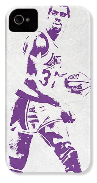 Magic Johnson Los Angeles Lakers Pixel Art IPhone 4 Case by Joe Hamilton