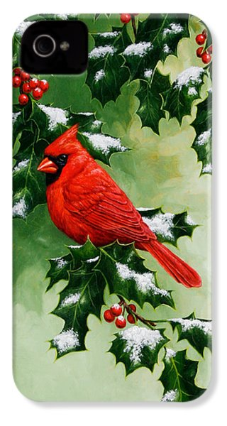 Male Cardinal And Holly Phone Case IPhone 4 / 4s Case by Crista Forest