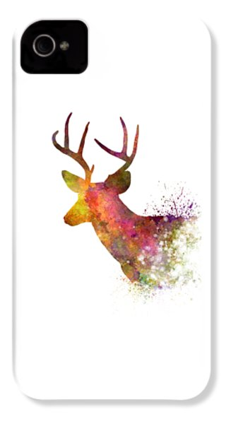 Male Deer 02 In Watercolor IPhone 4 Case by Pablo Romero