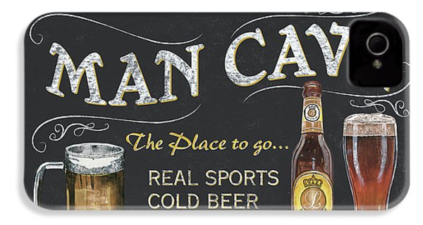 Man Cave Chalkboard Sign IPhone 4 Case by Debbie DeWitt