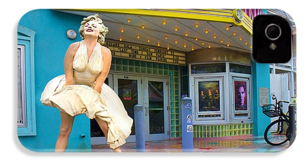 Marilyn Monroe In Front Of Tropic Theatre In Key West IPhone 4 / 4s Case by David Smith