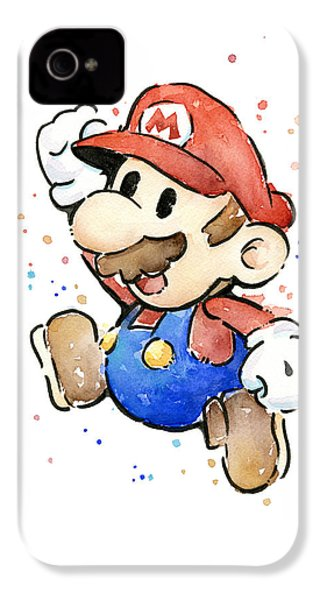 Mario Watercolor Fan Art IPhone 4 / 4s Case by Olga Shvartsur