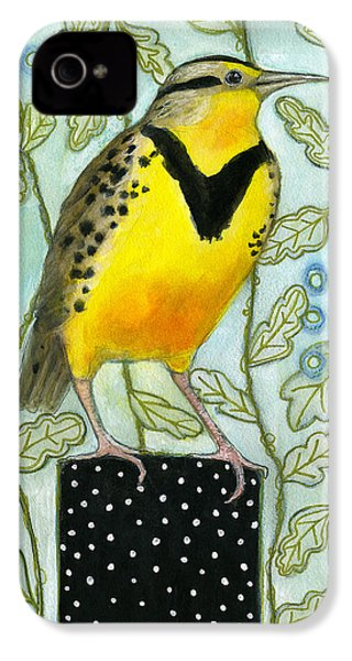 Meadowlark Black Dot Box IPhone 4 / 4s Case by Blenda Tyvoll