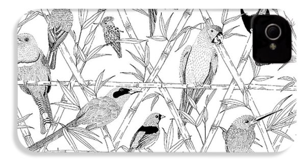 Menagerie Black And White IPhone 4 Case by Jacqueline Colley