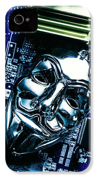 Metal Anonymous Mask On Motherboard IPhone 4 Case