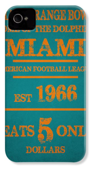 Miami Dolphins Sign IPhone 4 / 4s Case by Joe Hamilton