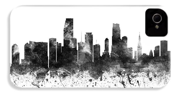 Miami Florida Cityscape 02bw IPhone 4 Case by Aged Pixel