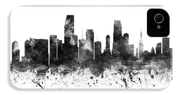 Miami Florida Cityscape 02bw IPhone 4 Case