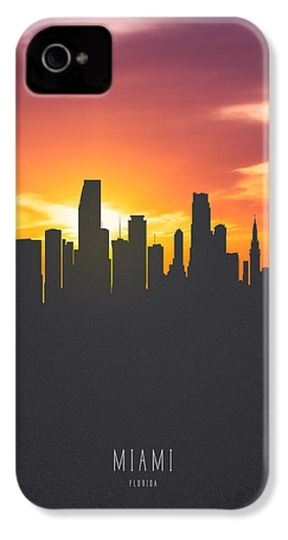 Miami Florida Sunset Skyline 01 IPhone 4 Case by Aged Pixel