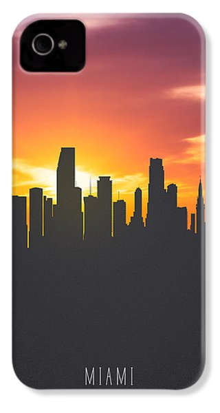 Miami Florida Sunset Skyline 01 IPhone 4 Case